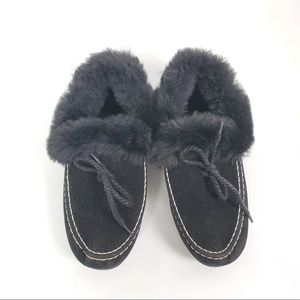 House faux fur fully lined slip on house shoes